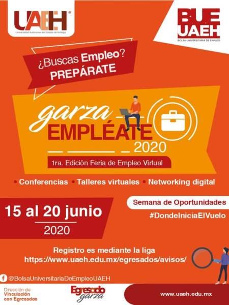 Prepara UAEH primera Feria del Empleo Virtual Garza Empléate 2020