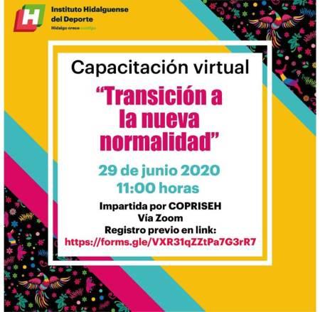 """El INHIDE invita a participar en la capacitación virtual """"Transición a la nueva normalidad"""""""