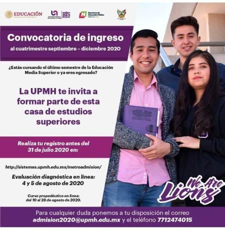 UPMH apertura segunda convocatoria para el cuatrimestre septiembre – diciembre 2020