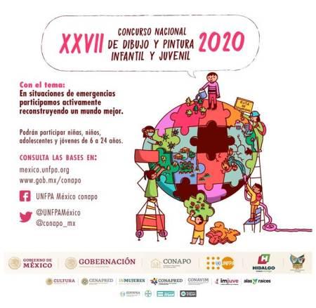 """27° Concurso Nacional de Dibujo y Pintura Infantil y Juvenil 2020 """"En situaciones de emergencias participamos activamente reconstruyendo un mundo mejor"""""""