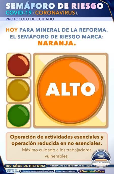 Continúan medidas de sana distancia con la entrada del semáforo naranja en Mineral de la Reforma1