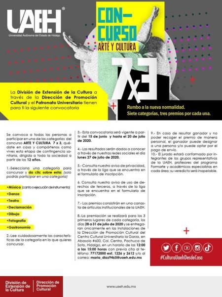 Invita UAEH a concurso Arte y Cultura 7x3