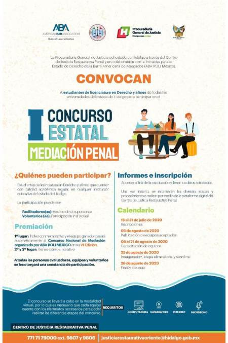 La PGJEH y ABA ROLI México convocan al 1er Concurso estatal de mediación penal