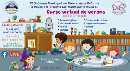 Sistema DIF de Mineral de la Reforma, invita al Curso Virtual de Verano 2020