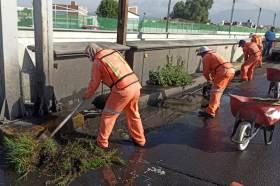 SOPOT realizó trabajos de limpieza general en el viaducto Río de las Avenidas, en Pachuca