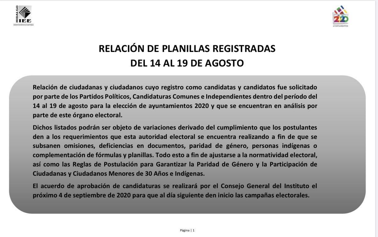 Publica IEEH planillas registradas por Partidos Políticos, Candidaturas Comunes y Candidaturas Independientes, la lista definitiva será votada el 4 de septiembre