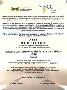 Recibe Sistema Universitario de Radio y Televisión UAEH reconocimiento internacional3
